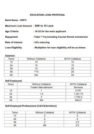 Education Loan Proposal