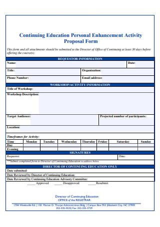 Education Personal Enhancement Activity Proposal Form