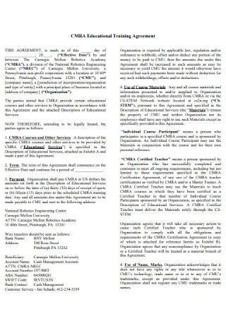 Educational Training Agreement Template