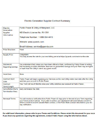 Electric Generation Supplier Contract