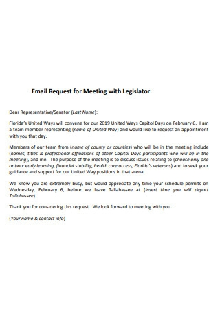Email Request for Meeting with Legislator
