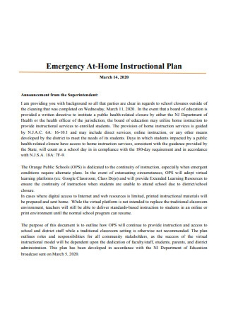 Emergency At Home Instructional Plan