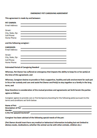 Emergency Pet Care Giving Agreement