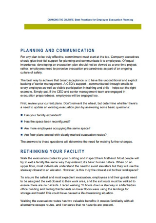 Employee Evacuation Planning