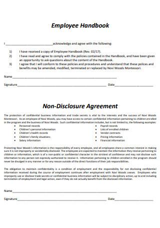 Employee Handbook Non Disclosure Agreement