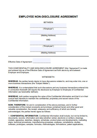 Employee Non Disclosure Agreement in PDF