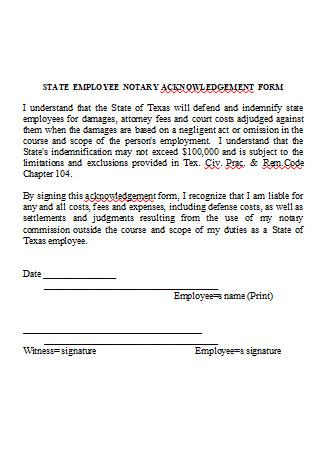 Employee Notary Acknowledgement