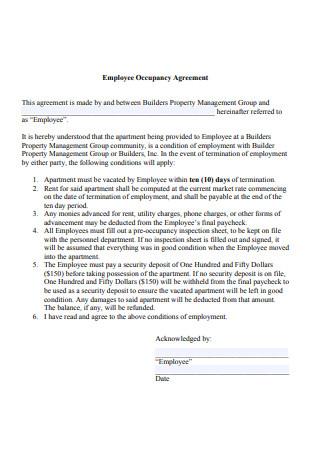 Employee Occupancy Agreement