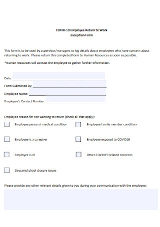 Employee Return to Work Exception Form