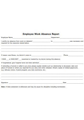 Employee Work Absence Report