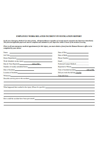 Employee Work Incident Investigation Report