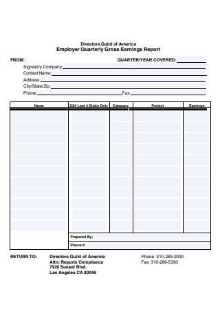Employer Quarterly Gross Earnings Report