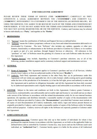 End User License Agreement Template