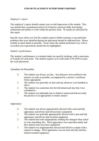 End of Placement Supervisor Report1
