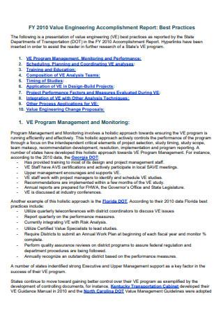 Engineering Accomplishment Report