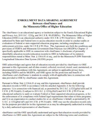 Enrollment Data Sharing Agreement