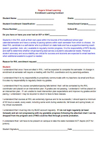 Enrollment Learning Contract