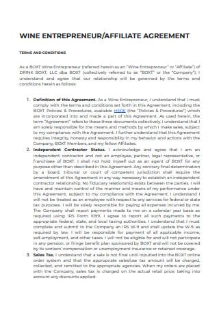 Enterpreneur Affiliate Agreement