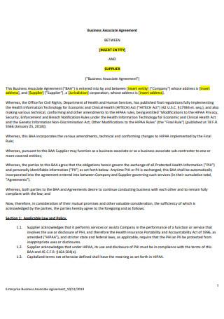 Enterprise Business Associate Agreement