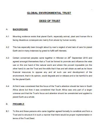 Environmental Deed of Trust