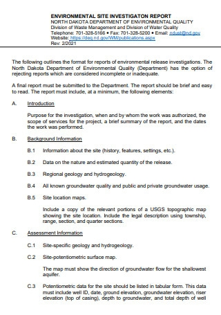 Environmental Site Investigation Report