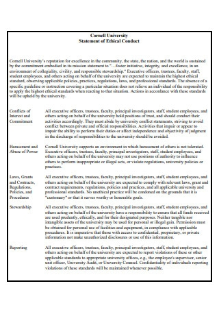 Ethical Conduct Statement