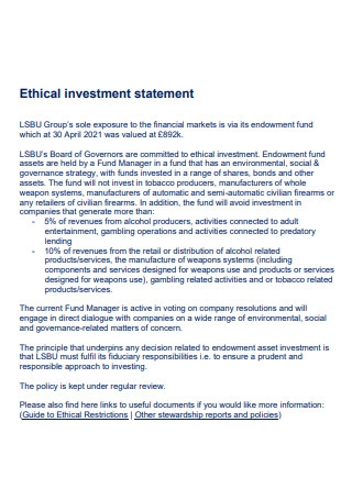 Ethical Investment Statement