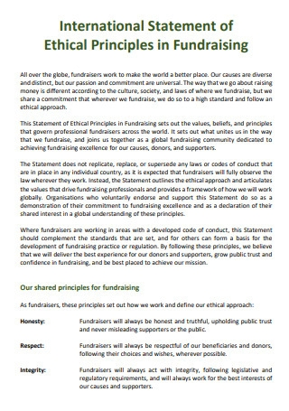 Ethical Principles in Fundraising International Statement