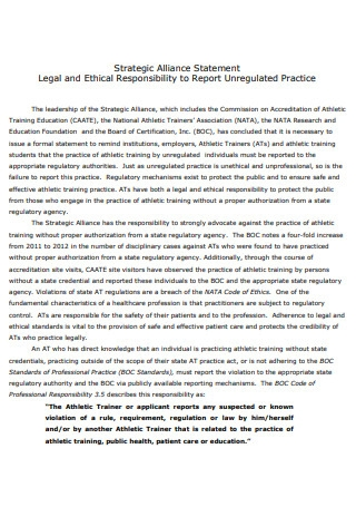 Ethical Responsibility Strategic Alliance Statement