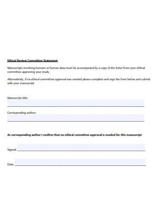 Ethical Review Committee Statement