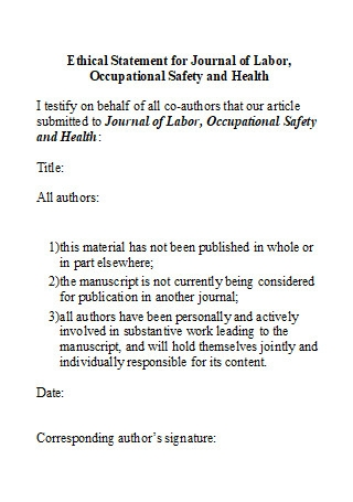 Ethical Statement For Journal of Labor