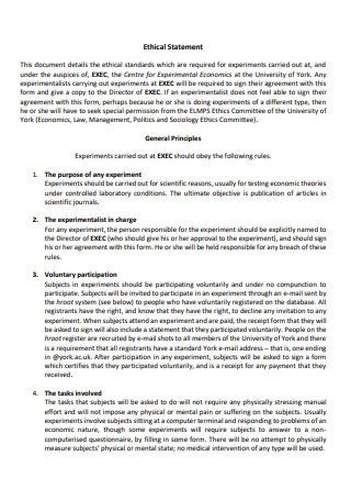 Ethical Statement Template
