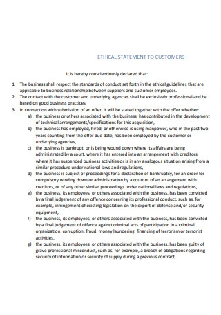 Ethical Statement to Customers