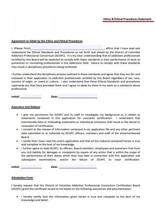 Ethics and Ethical Procedures Statement