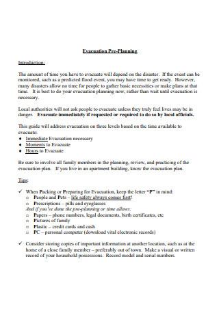 Evacuation Pre Planning