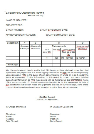 Expenditure Liquidation Report