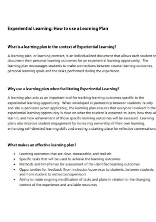 Experiential Lerning Plan