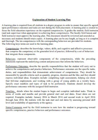 Explanation of Student Learning Plan