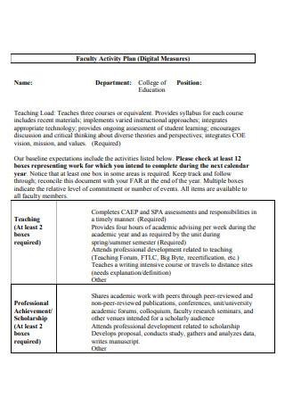 Faculty Activity Plan