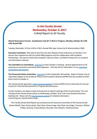 Faculty Brief Report