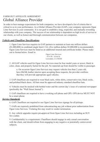 Farm Affiliate Agreement