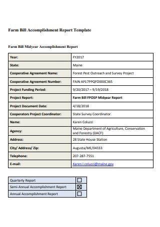 Farm Bill Accomplishment Report Template