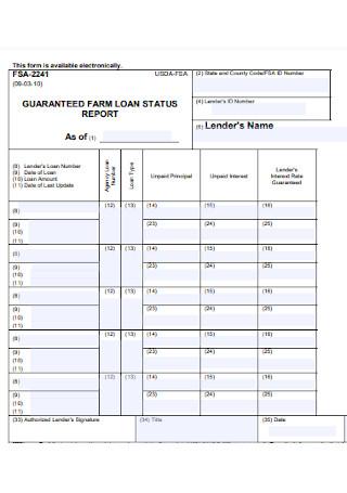 Farm Loan Status Report