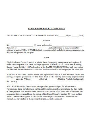 Farm Management Agreement Template