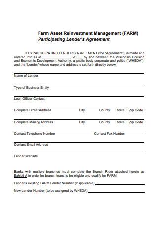 Farm Management Participating Lender Agreement