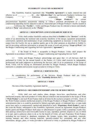 Feasibility Analysis Agreement