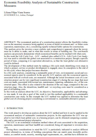 Feasibility Analysis of Sustainable Construction