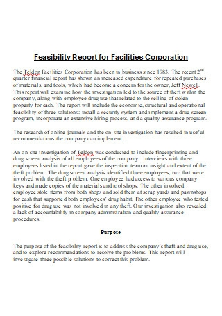 Feasibility Report For Facilities Corporation