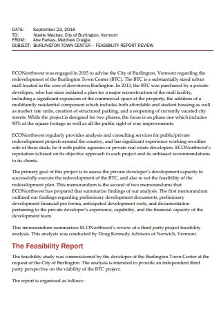 Feasibility Report Review
