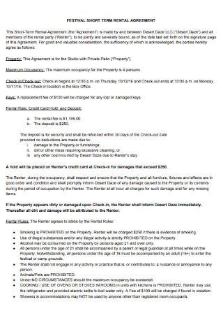 Festival Short Term Rental Agreement